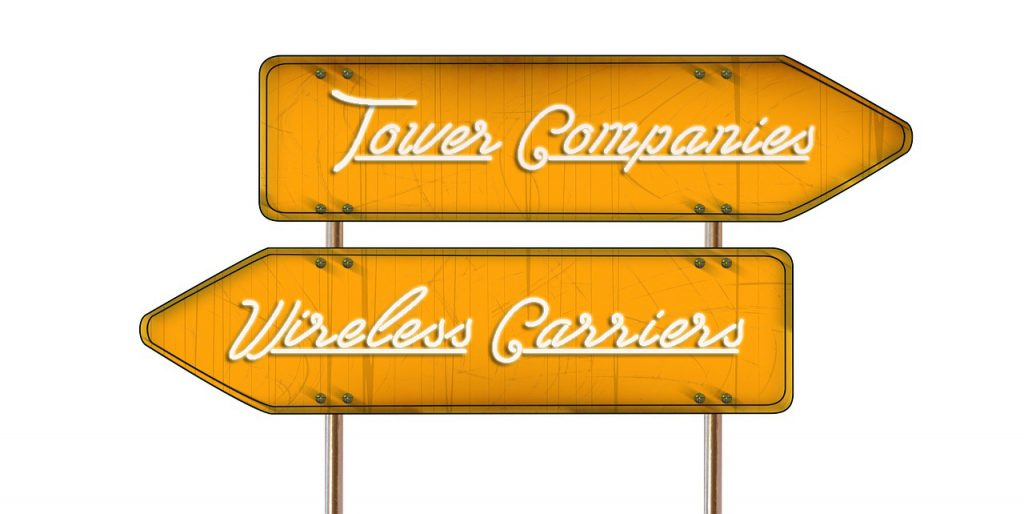 Graphic of sign showing two directions for tower companies and wireless carriers